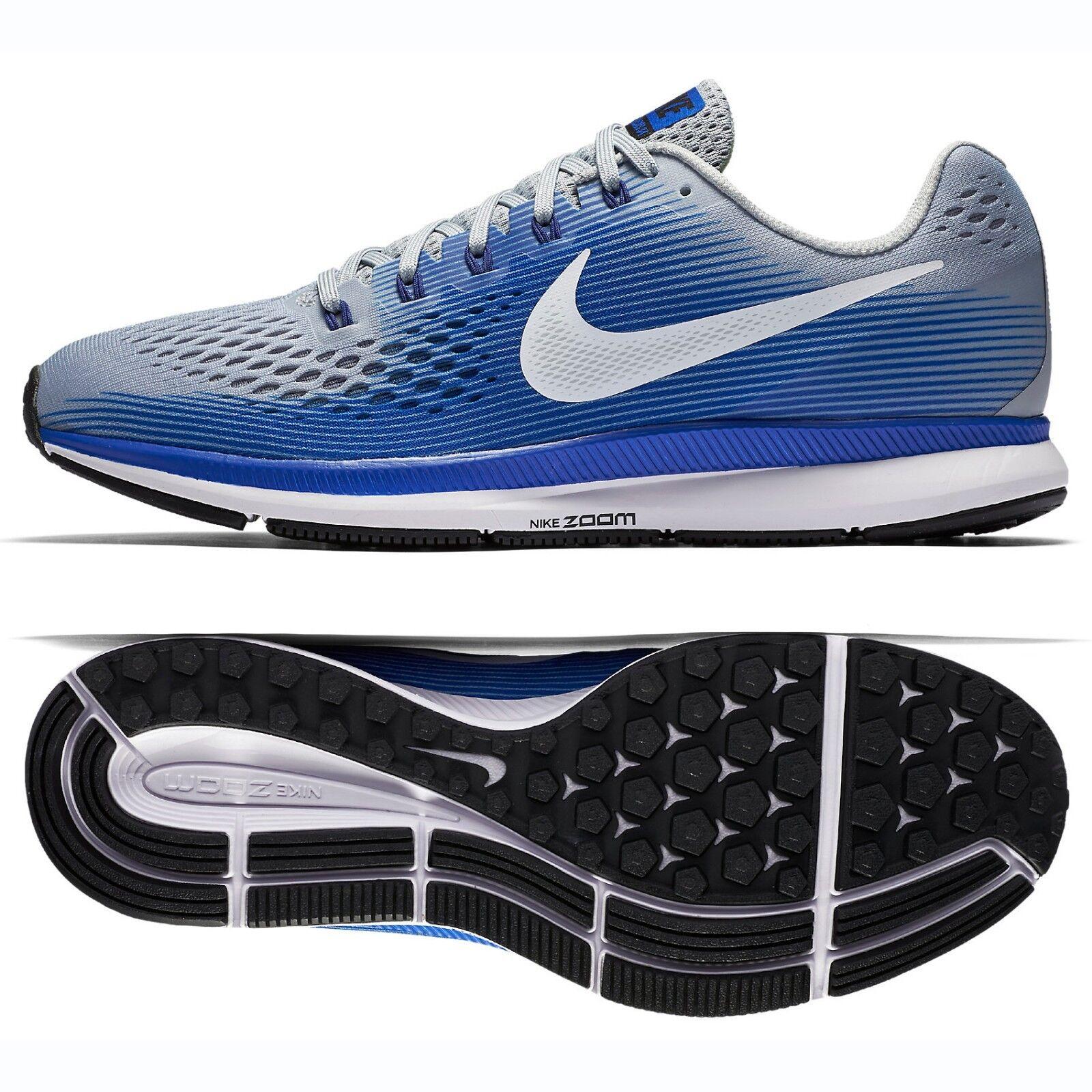 Nike Air Zoom Pegasus 34 880555-007 Grey/White/Blue Men's Running Shoes Sz 10.5