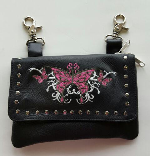 Pink Tribal Butterfly Biker Genuine Leather Belt Bag Hip Purse Motorcycle