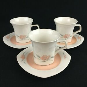 Set-of-3-VTG-Cups-and-Saucers-by-Nikko-Peachglow-Quadrille-Peach-Floral-Japan