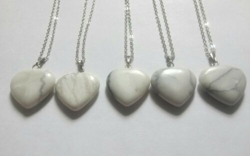 """White howlite heart 18/"""" silver plated necklace x1"""