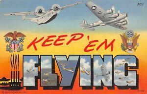 Vintage Keep em Flying WW2 Airplanes Military Linen Postcard 1944