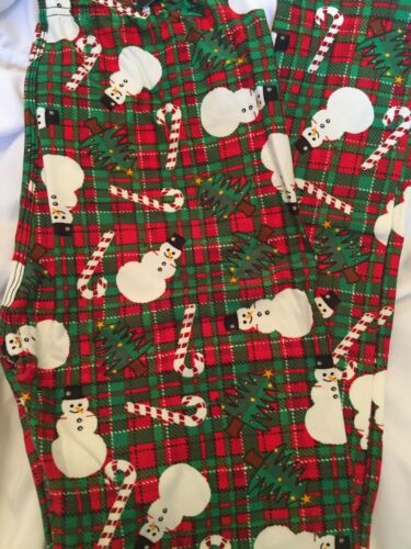 Christmas Snowman Plaid One Size 2-12 Buttery Soft Leggings