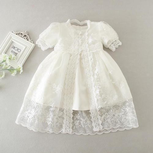 Embroidery Christening Baby Newborn Kid Girl Lace Baptism Dress Bonnet 3M 6M 12M