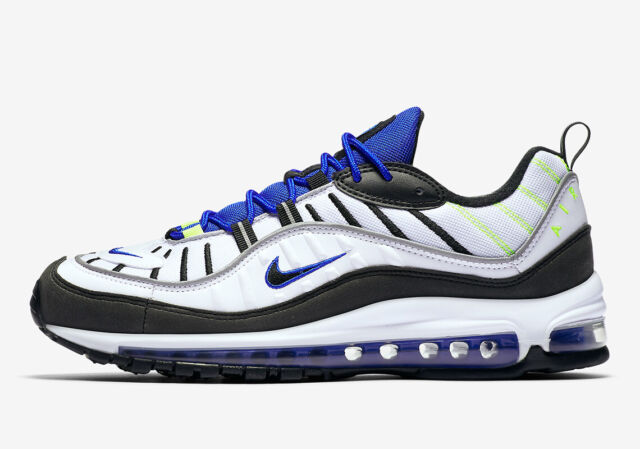 Nike Air Max 98 White Black Racer Blue Volt 640744 103 Mens Size 9