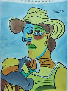 PABLO PICASSO, HANDMADE DRAWING ON POSTER BOARD,SIGNED & STAMPED (9.2x13.1 inch)