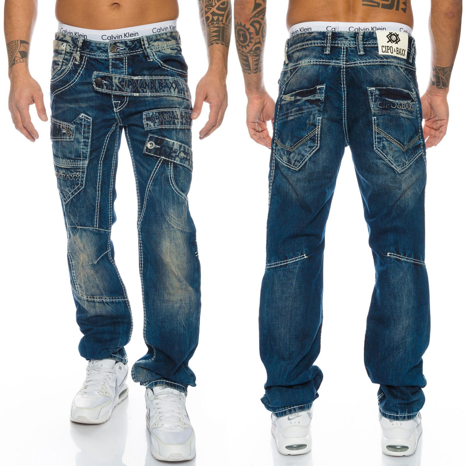 Cipo & Baxx Cuciture Uomo Pantaloni Jeans 1198 BLU NUOVO w28 29 30 31 32 33 34 36 38 40