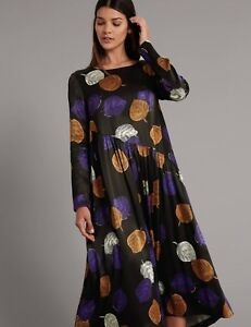 And Dress Størrelse Midi Long Rrp Sleeve £ Spencer Trykt Marks 69 8 7CqwUd7