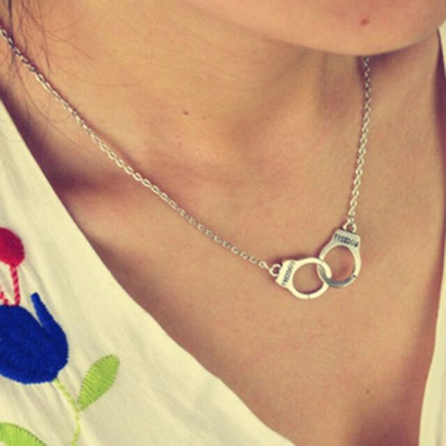 New Fashion Design Handcuffs Choker Pendant Necklace Chain Women Lovers Gif LL