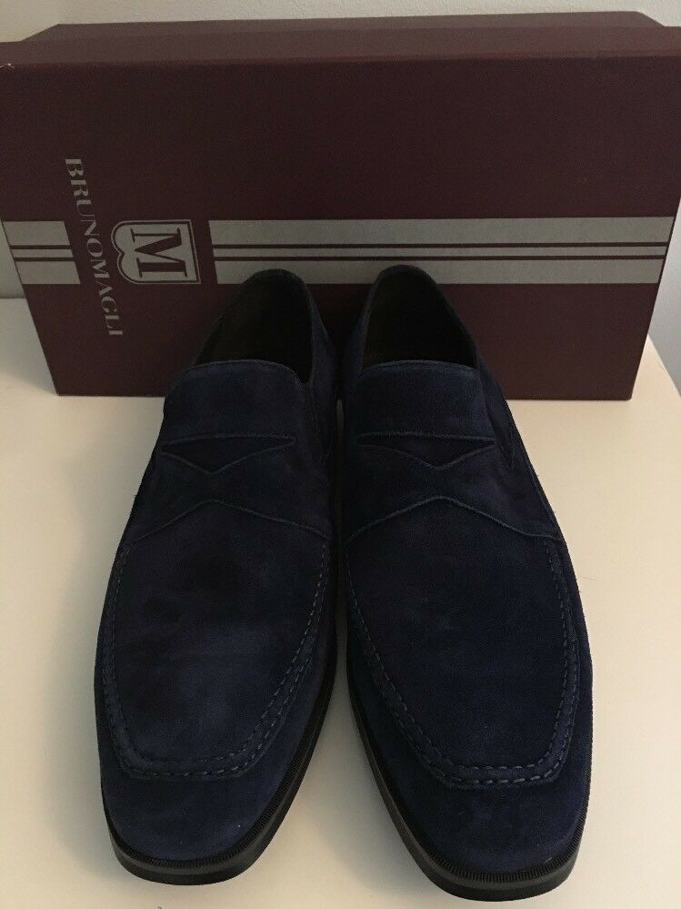 BRUNO MAGLI Uomo Navy Suede PRIMO Loafer Shoe   9.5 Italy Rubber Sole NEW