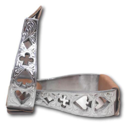 D.A Brand Silver Aluminum Poker Design Cutouts Stirrups Horse Tack STIRS-0016