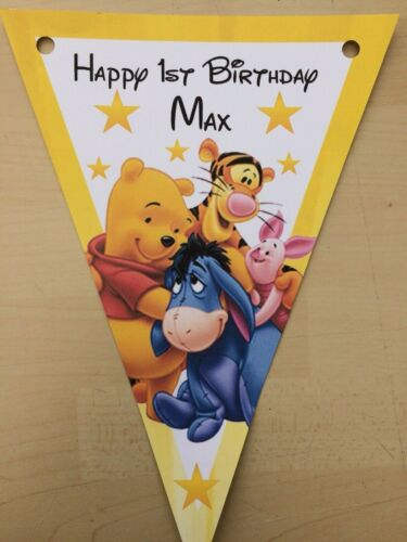 Personalised Handmade Winnie l/'ourson Bunting//Fête//Décoration//Anniversaire