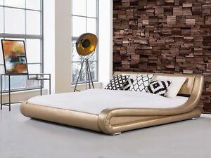 Letti Di Lusso In Pelle : Designer letto imbottito in pelle oro ondulati wellenförmiges lusso