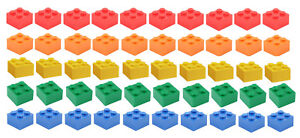 NEW-LEGO-2x2-Bricks-50-Count-5-Assorted-Colors-Blue-green-yellow-red-orange