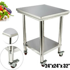 Rolling Stainless Steel Top Kitchen Work Table Cart Casters Shelving 24 X 24