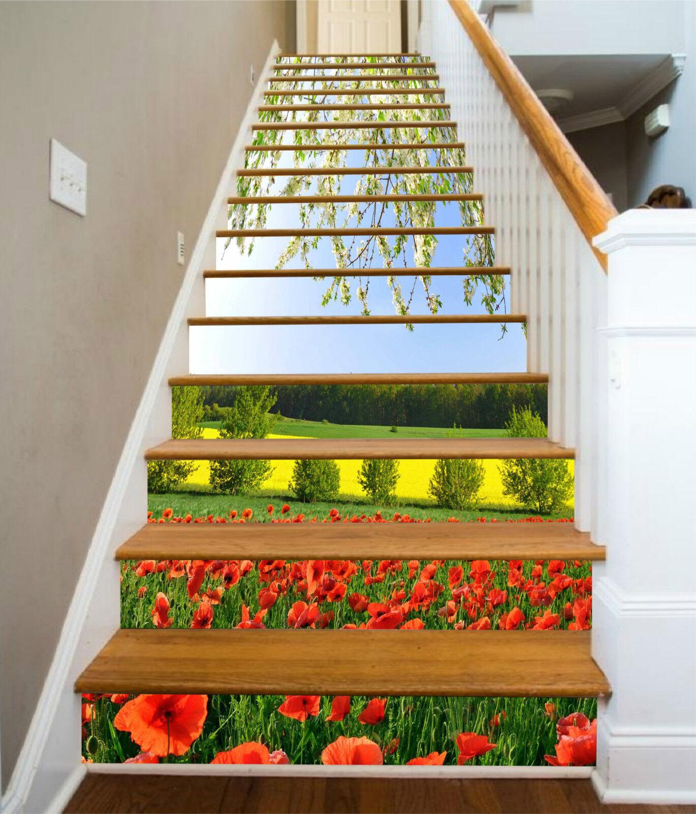 3D Frühling Blaume 8 Stair Risers Dekoration Fototapete Vinyl Aufkleber Tapete DE