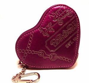 NEW COACH Heart COIN PURSE Magenta Jewel LEATHER Key Ring Charm Change 44477