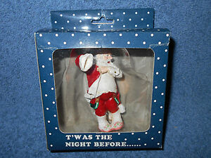 """3 1/2"""" SANTA GETTING DRESSED FIGURINE FOR CHRISTMAS VILLAGES OR CRAFTS NEW"""