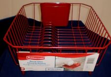RUBBERMAID NEW 1858899 TWIN SIZE SMALL SINK DISH DRAINER RACK RED