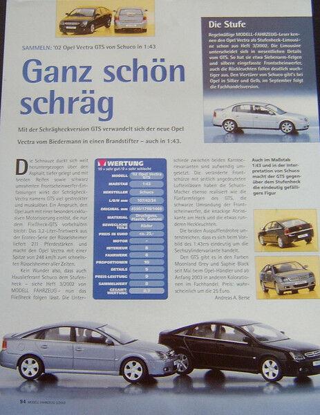 ' 02 Opel Vectra Gts In 1-43 Di Schuco... Un Modello Relazione #2002