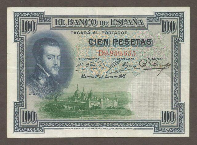 Spain 100 Pesetas 1.7.1925; EF; P-69c; King; Monastery