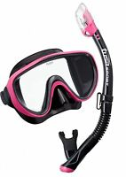 Tusa Ladies Silicone Mask & Dry Drain Snorkel Set Pro Combo Package - Pink Black