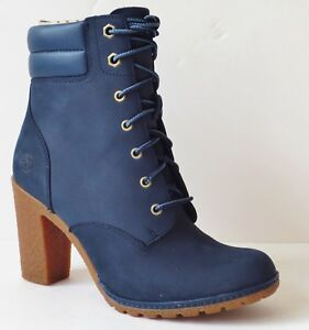 e68ff7be7c8d3 Details about Timberland Women's Tillston High Heel Navy Blue Leather Boots  Style A1HTS