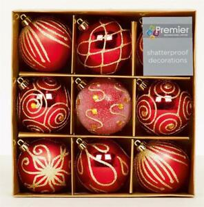 Christmas-Tree-Decoration-9-Pack-60mm-Shatterproof-Baubles-Red