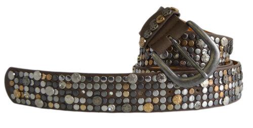 Damen Leder Nietengürtel Vintage Leder Nieten /& Strass Jeansgürtel kürzbar 157
