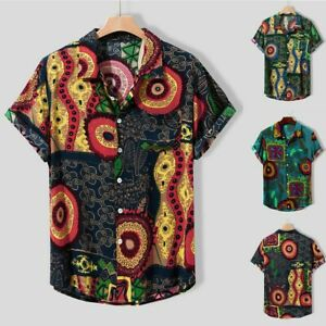 Mens-Vintage-Ethnic-Printed-Turn-Down-Collar-Short-Sleeve-Loose-Casual-Shirts