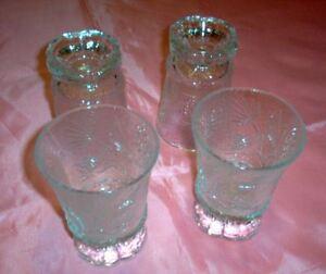 Tiara-Ponderosa-Pine-Crystal-Footed-Tumbler-Glasses-Juicers-4-Clear-NOS