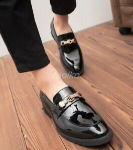 Mens-Dress-Formal-Patent-Leather-Slip-On-Loafers-Oxfords-Brogue-Flat-Metal-Shoes