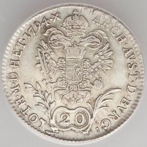 1794-B-Holy-Roman-Empire-Franz-II-20-Kreuzer-ANACS-VF30-Kremnitz-mint-KM2139