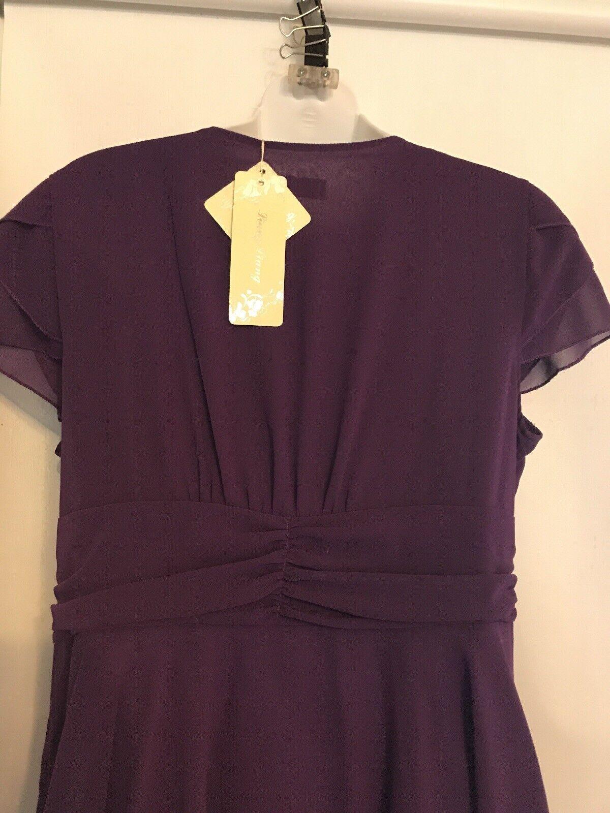 NEW Liang Liang Sz Sz Sz XL Purple Flowing Hem Cap Sleeves Faux Wrap Dress NWT 2f6c59
