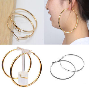 5a9531e3a Women Small Big Circle Silver Round Earrings Party Gold Hoop Earring ...