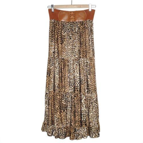 Leopard Animal Print Long Maxi Skirt by Mint Green