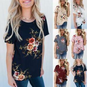 UK Summer Womens Floral Tops Blouse Ladies Short Sleeve T-Shirt Plus Size 6-20