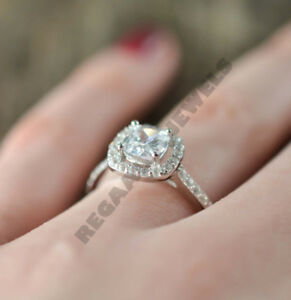 14K-White-Gold-Over-2-44-CT-VVS1-Diamond-Cushion-Cut-Vintage-Halo-Wedding-Ring