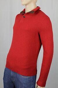 Ralph Lauren Red Wool Angora 1/2 Half Buttoned Suede Sweater NWT $185