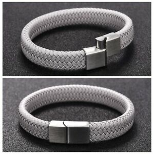 Men-039-s-Vintage-Braided-Leather-Bracelets-Bangle-Stainless-Steel-Clasp