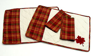 Set-of-2-14x20in-Placemats-with-Matching-Napkins-Fall-Autumn-Plaid-Quilted-C-amp-F