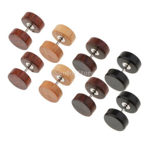 4 Paar  Holz Ohrringe hölzerne Mini Ohrringe kleine runde Holz ohrstecker Damen