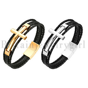 Stainless-Steel-Braided-Religious-Cross-Genuine-Leather-Bracelet-for-Men-8-46-034