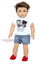 "SUPER HERO SHIRT + DENIM SHORTS + SHOES for 18"" American Girl Boy Doll Clothes"