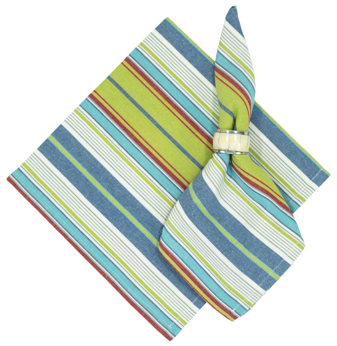 100% Cotton Grün Blau & rot Striped 22 x22  Napkins, Set of 6 - Clipper