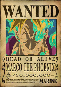 Sticker autocollant poster a4 manga one piece affiche wanted marco the phoenix ebay - Affiche one piece wanted ...