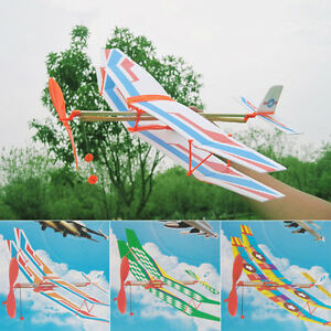 Rubber-Band-Elastic-Powered-Flying-Glider-Plane-Airplane-Model-Toy-For-Kids-New