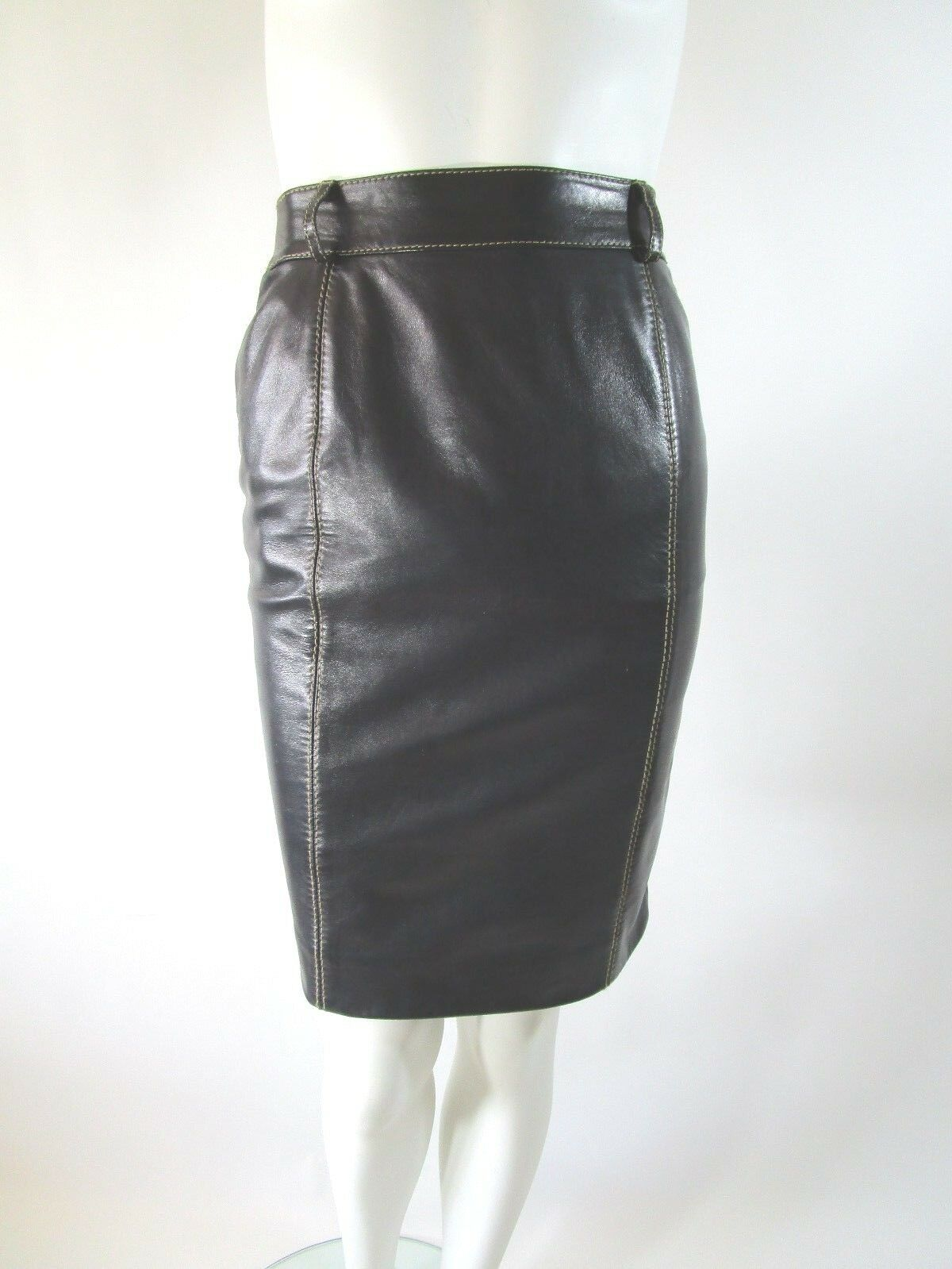 Vintage ESCADA Dark Brown Butter Soft Leather Contrast Stitch Pencil Skirt 34