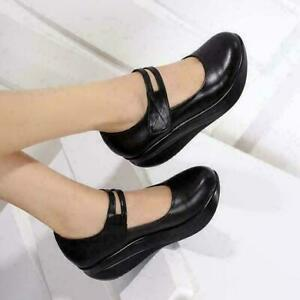 womens leather casual nursing shoes platform wedge heels