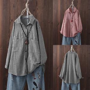 ZANZEA-Femme-Chemise-Bande-Manche-Longue-Revers-Bande-Boutons-Shirt-Loose-Plus