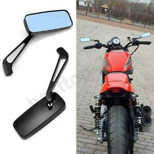BLACK RECTANGLE MOTORCYCLE CRUISER REARVIEW MIRRORS CHOPPER BOBBER CAFE RACER